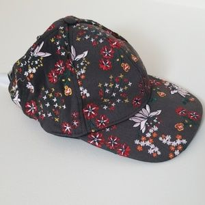 Embroidered floral baseball cap hat
